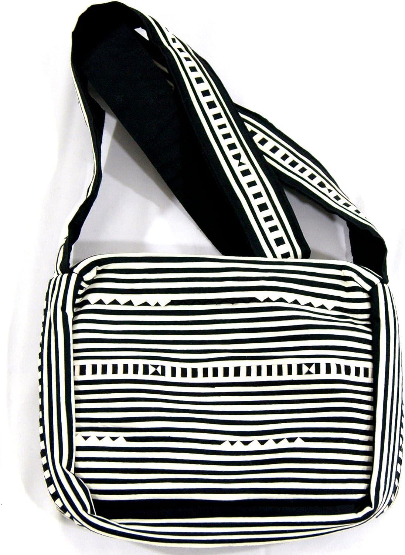 Bloomy Life Bohemian Handmade Cloth Zippered Crossbody Bag  Black & White