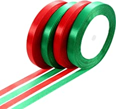 100 Yards Satin Ribbon Christmas Gift Wrapping Ribbon for DIY Gifts (Red and Green, 10 mm)