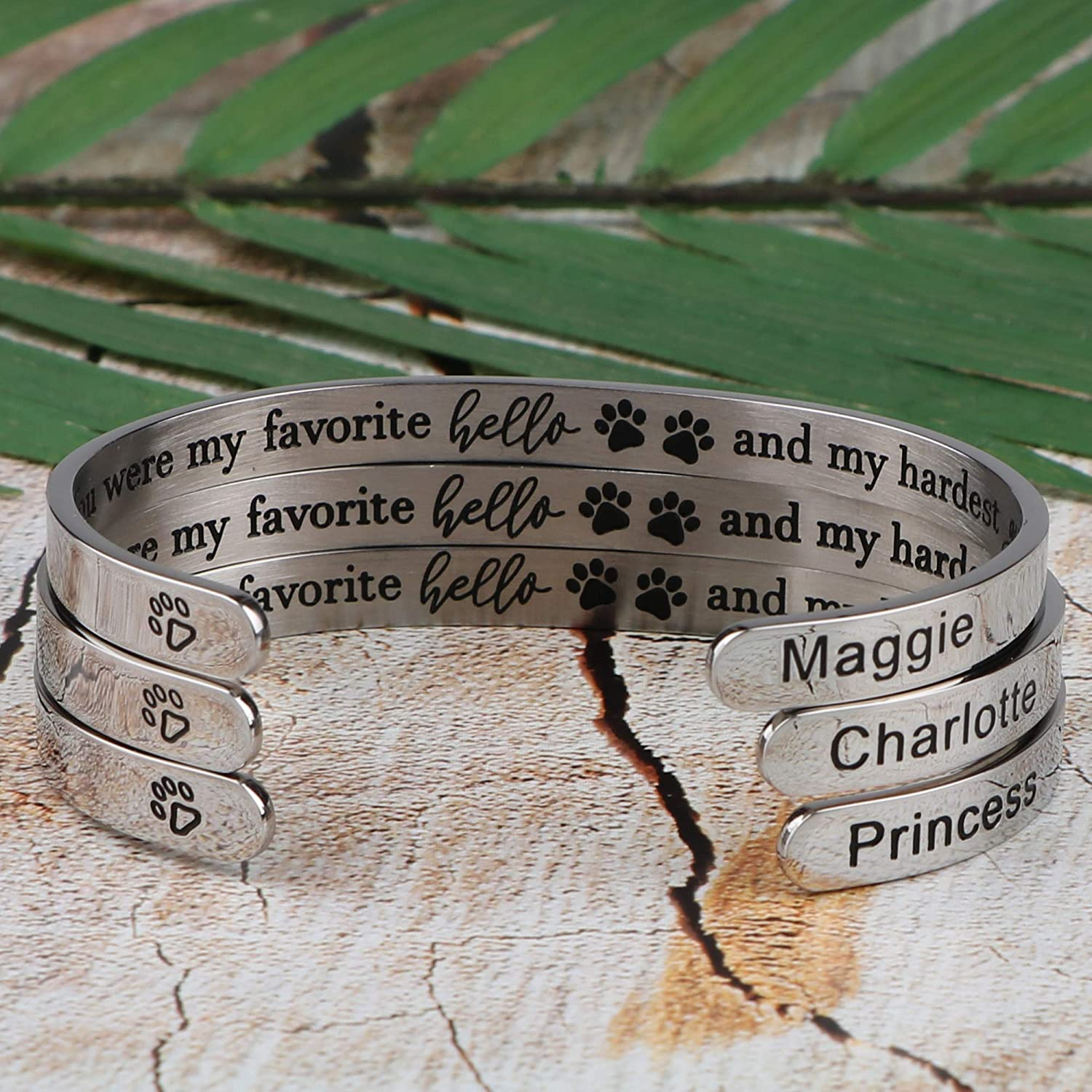 Pet Memorial Bracelet Personalized Custom Pet Name Cuff Customized Unique Sympathy Loss Jewelry Gift for Women Girls Engraved You Were My Favorite Hello and My Hardest Goodbye