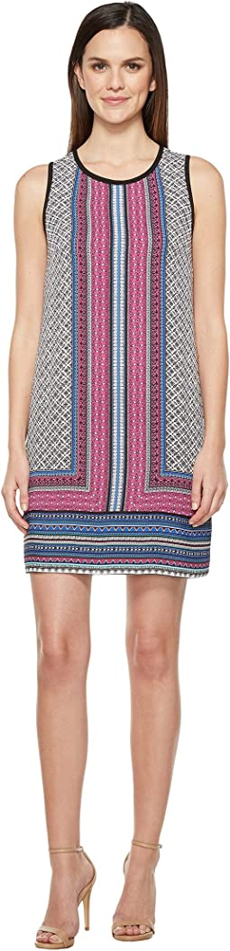 Printed Sleeveless Trapeze Dress w/ Contrast