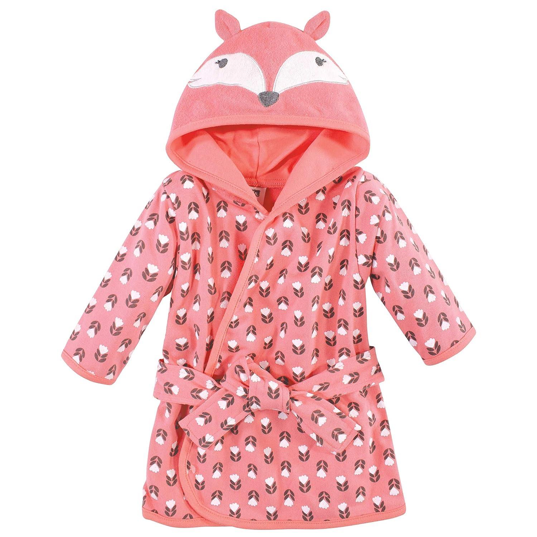 Hudson Baby Unisex Baby Cotton Rich Bathrobe, Girl Fox, 0-9 Months