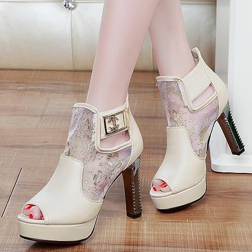 YTTY Bouche De Poisson Creux épaisse avec Sandales à Talons Hauts Chaussures Nettes Chaussures Bas épais Beige 39