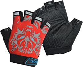 Freehawk Kids Cycling Gloves, Non-Slip Ultrathin Children Half Finger Bicycle Cycling Breathable Gloves Roller-Skating Gloves for Fishing, Cycling, Roller Skating and Climbing in Summer
