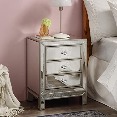 Mirrored Nightstand, Golden Lines End Table with 3-Drawers, Mirror Accent Silver Table, Bedroom Mini Cabinet from Mireo Furniture