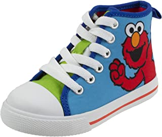Sesame Street Elmo Shoes, Hi Top Sneaker with Laces, for Toddlers and Kids, Size 7 to 12