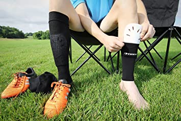 Amazon.com : Kwik Goal Adult Shin Guard Compression Sleeves, Black : Soccer Shin Guards : Sports & Outdoors