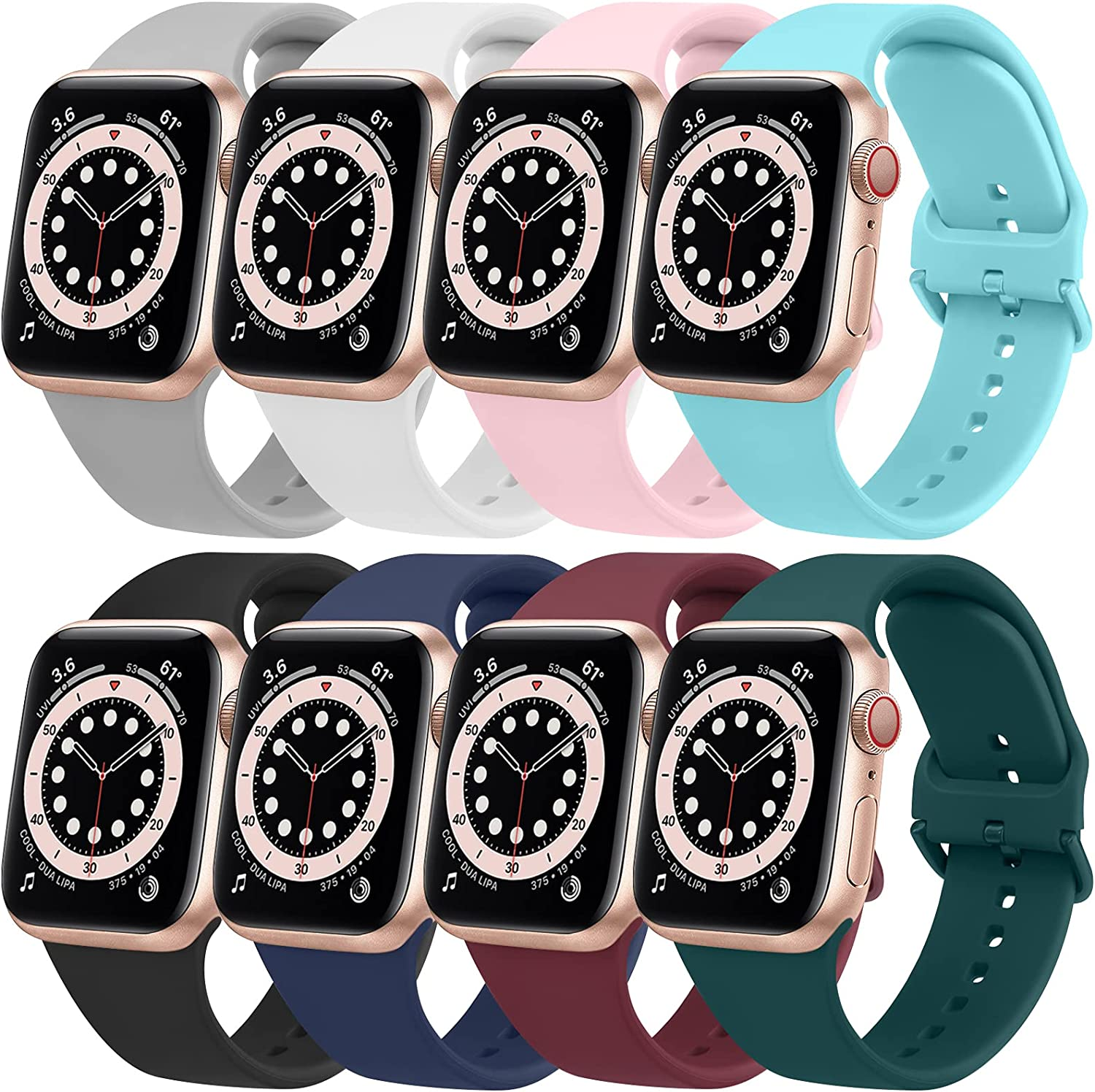 [8 Pack] Silicone Bands Compatible with Apple Watch Bands 44mm 42mm for Women Men, Soft Sport Bands Compatible with iWatch SE & Series 6 5 4 3 2 1
