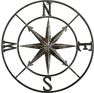 Creative Co-op Decorative Round Metal Compass Wall Décor, 30