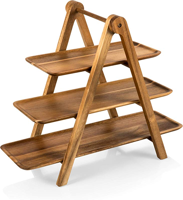TOSCANA A Picnic Time Brand 829 03 Three Tiered Acacia Ladder Serving Station 14 3 4 Inch