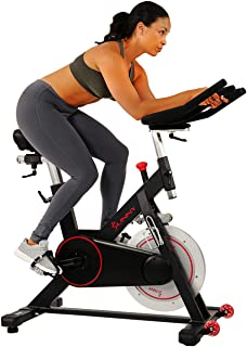 Sunny Health & Fitness Magnetic Belt Drive Indoor Cycling Bike with 44 lb Flywheel and Large Device Holder, Black, Model N...