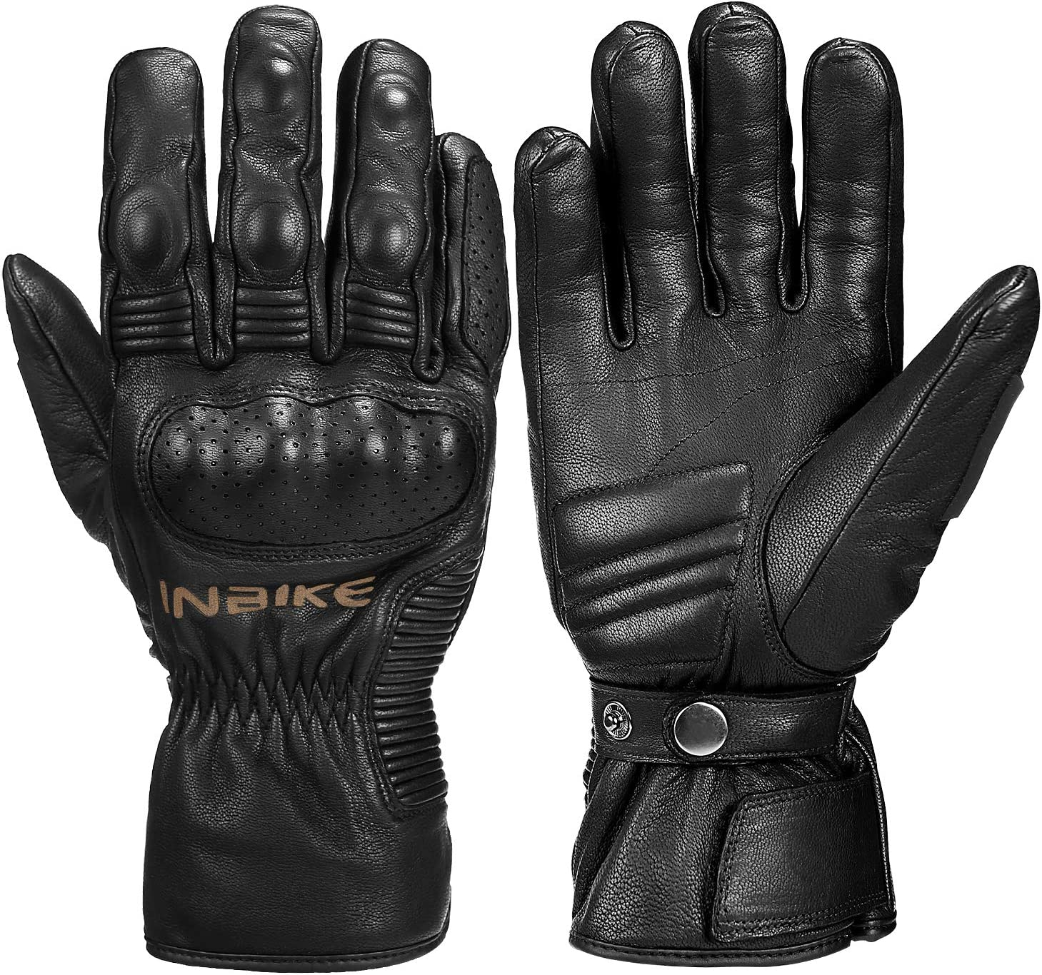 INBIKE Winter Motorcycle Gloves cold weather Thermal Leather Full Finger Motorbike Gloves Black Small