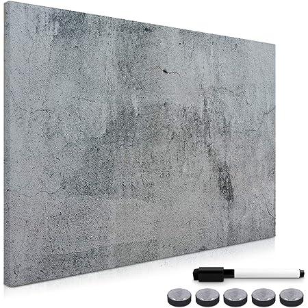 Navaris Tableau magnétique - Panneau mémo 90 x 60 cm avec aimants - Tableau mural design béton avec marqueur - Décoration murale