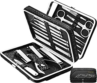 ESARORA Manicure Set, 20 in 1 Stainless Steel Professional Pedicure Kit Nail Scissors Grooming Kit with Mirror and Black L...