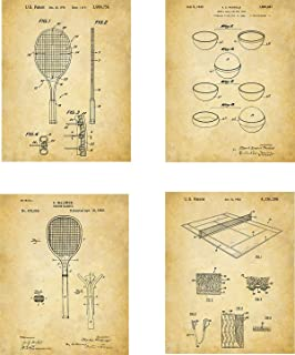 Tennis Patent Wall Art Prints - set of Four (8x10) Unframed - wall art for tennis fans