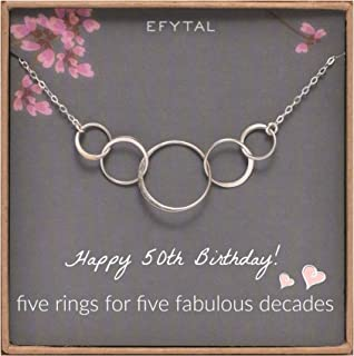 EFYTAL 50th Birthday gifts for women, Sterling Silver Five Circle Necklace For Her 5 Decade Jewelry 50 Years Old
