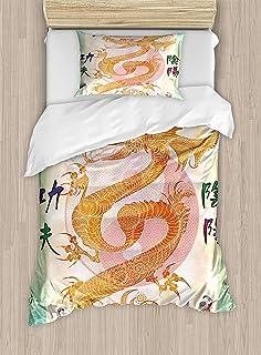 Dragón Juego de funda nórdica Tamaño doble, Dragón chino asiático con artes marciales Figuras Cuadro de Samurai Ying Yang japonés, Juego de cama decorativo de 2 piezas con 1 funda de almohada, Multico