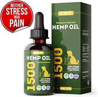 Hemp Oil for Dogs and Cats - Provides Dog Anxiety Relief - Includes Omega 3,6,9 and Vitamic C, E (3-in-1) - 1500mg - US Made - Reduces Travel and Vet Stress
