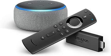 Fire TV Stick con telecomando vocale Alexa + Echo Dot (3ª generazione), Tessuto grigio chiaro