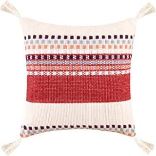 Merrycolor Woven Decorative Throw Pillow Cover for Couch Sofa Boho Tribal Cotton Pillow Cases Square Cushion Cover Red Acc...