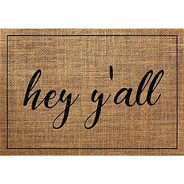 "Rustic Burlap Farmhouse - Hey Y'All Welcome Carpet Door Mat 18""x26"""