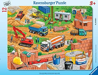 Ravensburger -Work at The Construction Site - Jigsaw Puzzle for Kids - Every Piece is Unique, Pieces Fit Together Perfectly