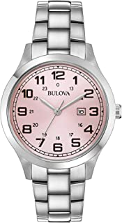 Bulova Classic Pink Dial Stainless Steel Ladies Watch 96M143