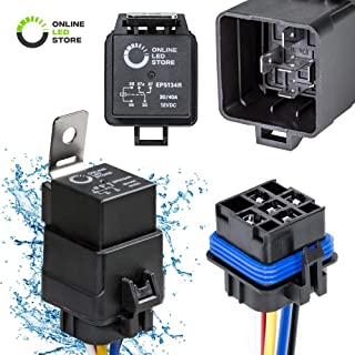 40/30 Amp Waterproof Relay Switch Harness Set - 12V DC 5-Pin SPDT Automotive Relays 12 AWG Hot Wires