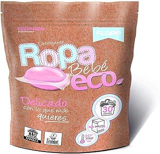 Flopp - Detergente Ecológico en Cápsulas para la Ropa de Bebé (30 Capsulas)   Detergente Delicado. Detergente Ropa Bebé Ec...