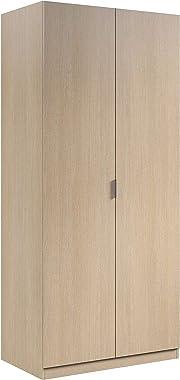 Armario Ropero 2 Puertas, Armario Habitación, Dormitorio, Modelo Low Cost, Acabado en Color Roble, Medidas: 81 cm (Ancho) x 1