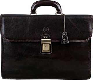 Maxwell Scott Men's Real Leather Business Briefcase - Paolo2 Brown
