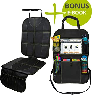 """VolkGo Car Seat Protector and Organizer Set – Kick Mat – Multi Pocket Organizer – 10"""" Android or iPad Tablet Pouch – Easy to Install & Clean – Strong & Resilient – Non Slip Back"""
