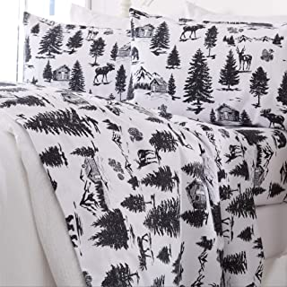 Great Bay Home Extra Soft Printed 100% Turkish Cotton Flannel Sheet Set. Warm, Cozy, Luxury Winter Bed Sheets. Belle Collection (Queen, December Frost)
