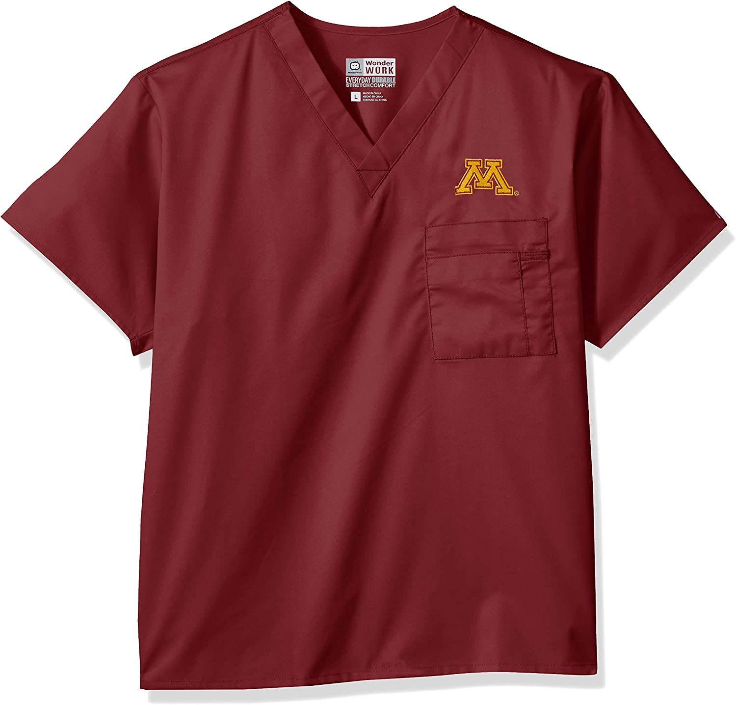WONDERWINK UnisexAdult University of Minnesota VNeck Top Medical Scrubs Shirt
