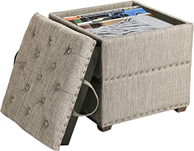 Asense Modern Fabric Storage Ottoman Footrest Stool with Removable Lid Padded Seat Side Tables for Bedroom Living Room Porch