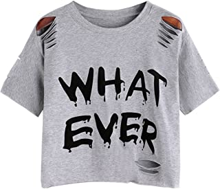SweatyRocks Women's Short Sleeve T Shirt Graphic Print Distressed Crop Top