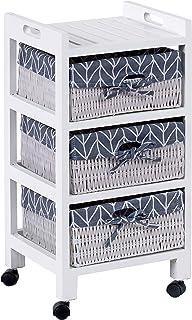Armario aparador de ts-ideen estilo casa de campo con 3cestas de color blanco para sala de estar dormitorio salón baño