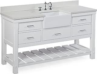 Charlotte 60-inch Single Bathroom Vanity (Quartz/White): Includes a White Quartz Countertop, White Cabinet with Soft Close Drawers, and White Ceramic Farmhouse Apron Sink