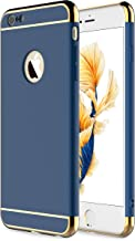 RORSOU iPhone 6s Plus Case,iPhone 6 Plus Case,3 in 1 Ultra Thin and Slim Hard Case Coated Non Slip Matte Surface with Electroplate Frame for Apple iPhone 6/6s Plus(5.5') - Blue and Gold