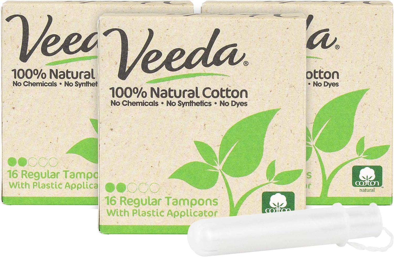 Veeda 100% Natural Houston Mall Cotton Compact Ranking TOP14 Ch Applicator Tampons BPA-Free