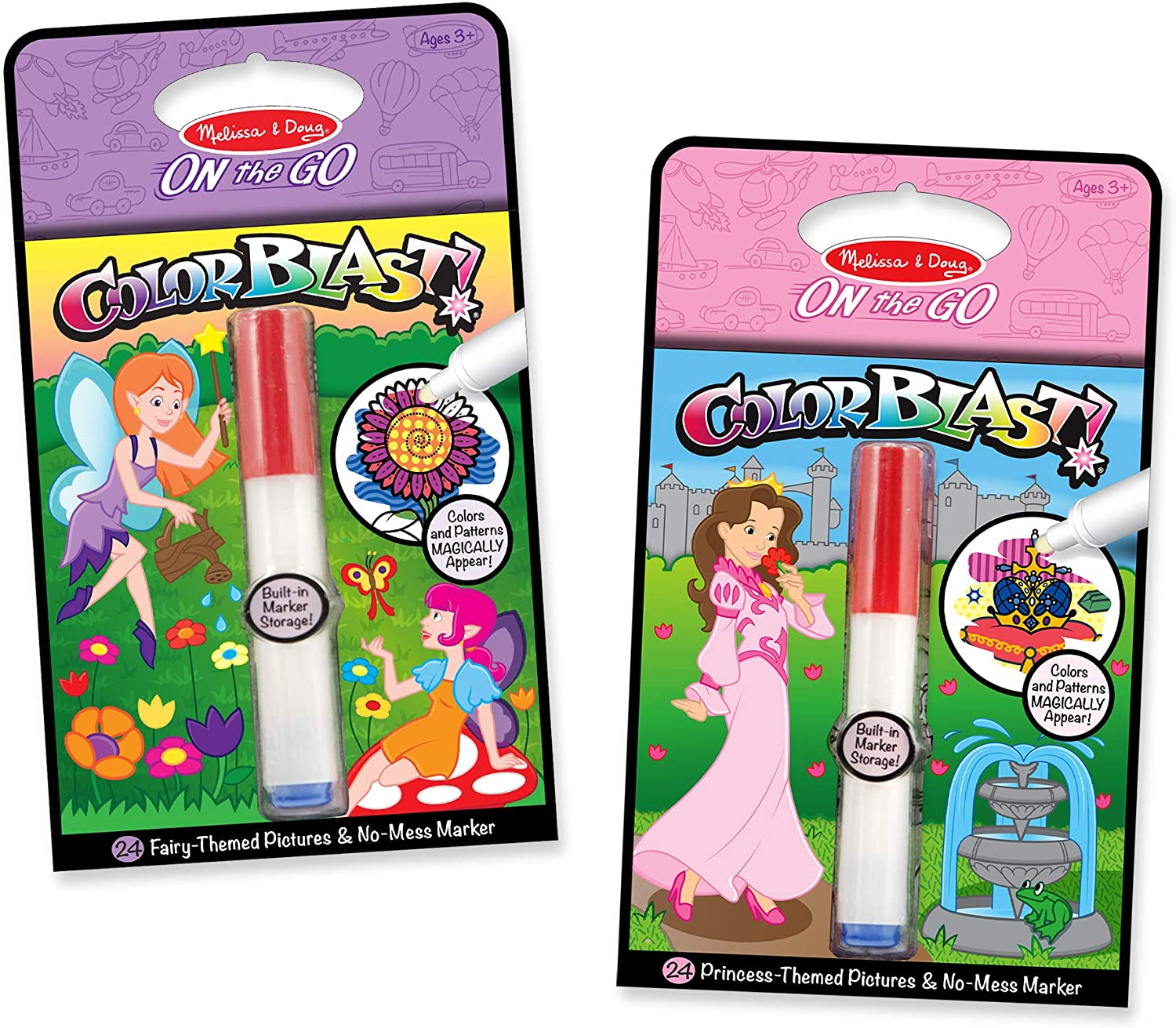 Melissa & Doug On the Go ColorBlast! Princess and Fairy Color-Reveal Coloring Books, 2-Pack