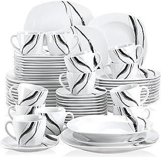 VEWEET Teresa 60pcs Service de Table Porcelaine 12pcs Assiette Plate, Assiette à Dessert, Assiette Creuse, Tasse avec Souc...