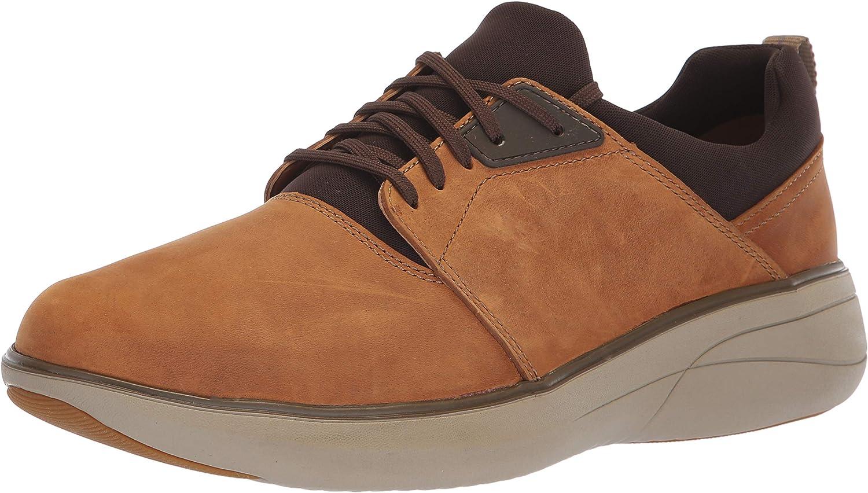 CLARKS Men's Un Rise Lo Sneaker, Dark tan Oily Leather, 140 M US