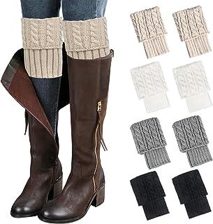 Loritta, 4 pares de calcetines para botas de invierno cálidos de ganchillo para botas de invierno