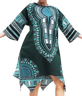 Brand Afrikan Dashiki Sac Dress Pointed Arrow Hem Pockets Colours