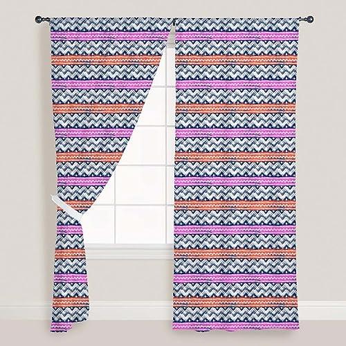 ArtzFolio Bold Zigzag Door & & & Window Curtain Satin 4Feet X 6Feet; Set of 2 Pcs  promociones