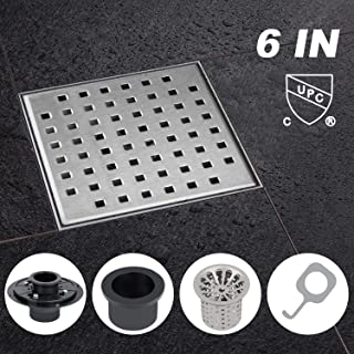 Modbath 6 Inch Square Shower Drain with PVC Base Flange, Floor Drain with Removable Quadrate Pattern Cover for Bathroom, Brushed 304 Stainless Steel, Includes Hair Strainer, Threaded Adapter