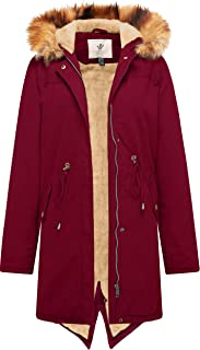 WenVen Women's Mid Length Hooded Sherpa Lined Parka Jacket