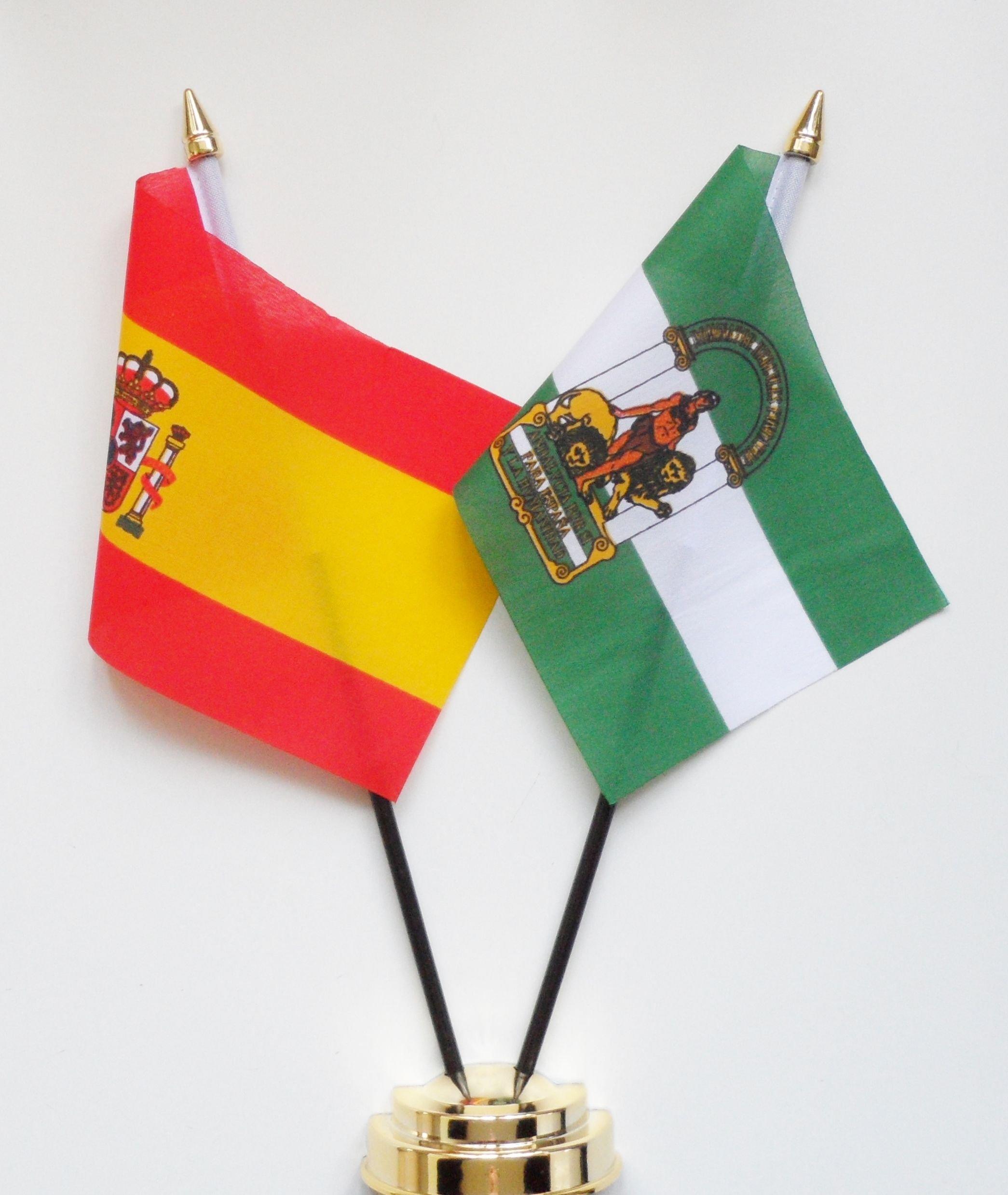 España y Andalucía amistad Bandera de mesa pantalla 25 cm (10