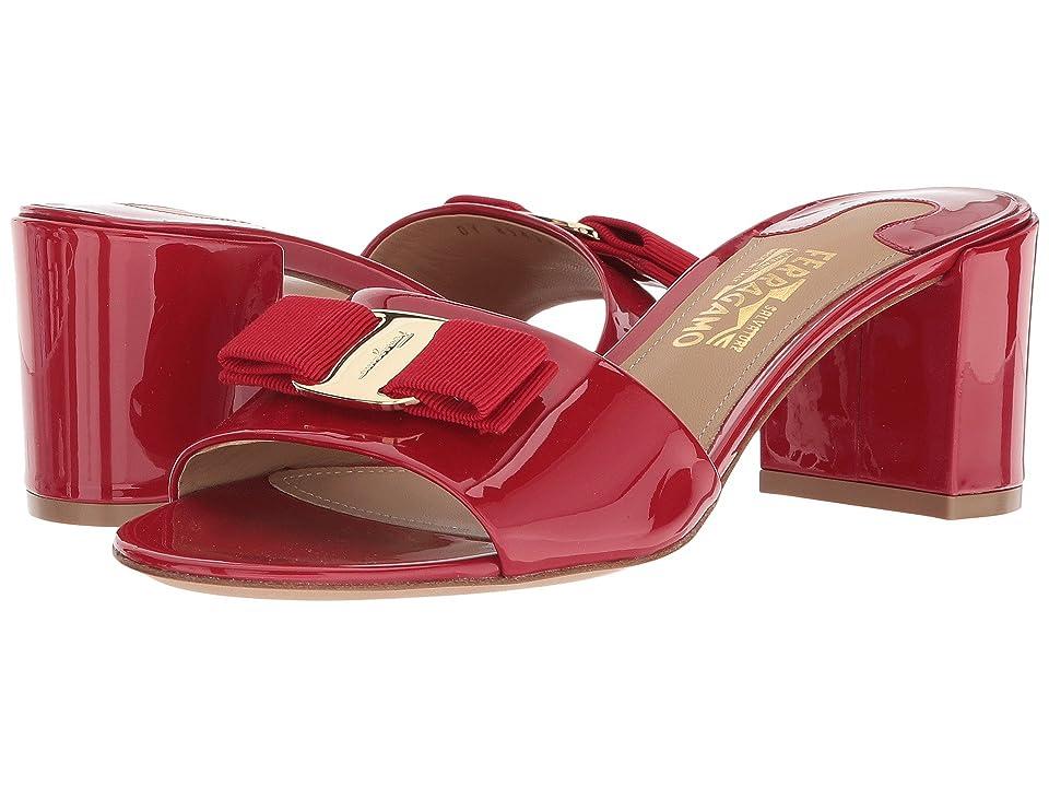 Salvatore Ferragamo Calfskin Mid-Heel Sandal (Lipstick Patent) High Heels