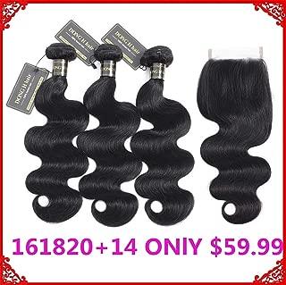 9A Peruvian Body Wave Bundles With Closure,(20 18 16+14 Natural Black) Peruvian Human Hair 3 Bundles With Lace Closure Unprocessed Body Wave Virgin Human Hair Extensions